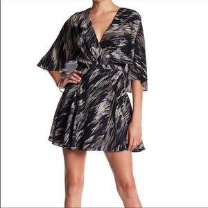 New Halston Heritage Black Print Silk Dress 14